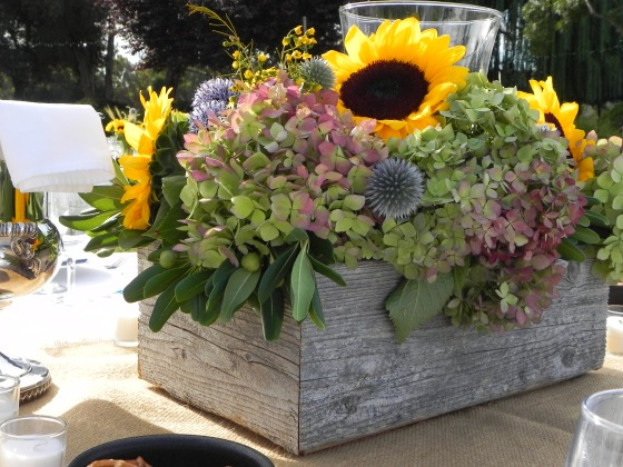 Barnwood Planters with hydrangeas and sunflowers