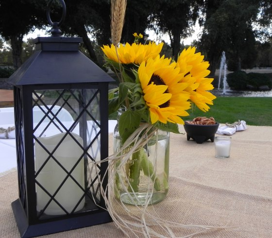 lantern-and-mason-jar-with-sunflowers
